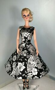 Handmade Silkstone Barbie Silver and Black Cotton Sateen Fully Lined Dress SDD