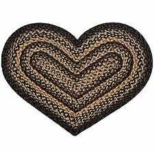 "IHF Home Decor Braided Rug Heart Shaped 20"" x 30"" Jute Black Forest Design"