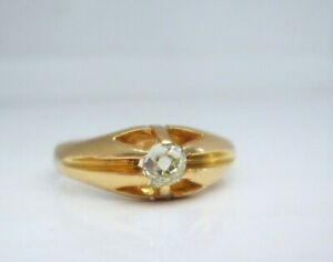 Antique 18ct Yellow Gold Old Mine Cut Solitaire Natural Diamond Gypsy Ring
