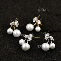 18K YELLOW WHITE GOLD MADE WITH SWAROVSKI CRYSTAL PEARL CHERRY EARRINGS CUTE