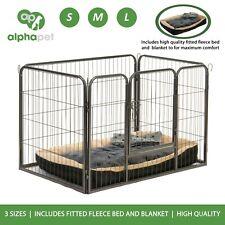 ALPHAPET Heavy Duty Dog Puppy Pen Whelping Cage Playpen inc Fleece Bed & Blanket