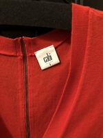 "Cabi # 3155 ""Cobblestone Cardigan"" Cotton Blend Red Zip-Back Sweater S"