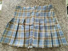 Womens Girls Grey/Yellow Printed Tartan Plaid Mini Skirt Skort