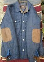 Tasso Elba Men's Blue Quilted Jacket with Brown Suede Trim  - Size M