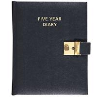 Collins Five (5) Year Diary Undated Lockable A5 Black Leathergrain Organiser Y1L