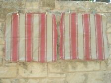 "Two! Pottery Barn 20"" Decorative Pillow Shams Red/Beige Stripe 100% Cot Zip Open"