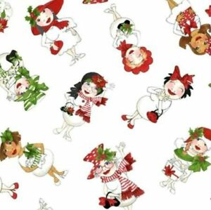 Loralie Designs White Tossed Snowball Ladies Cotton Fabric 692-405 BTY