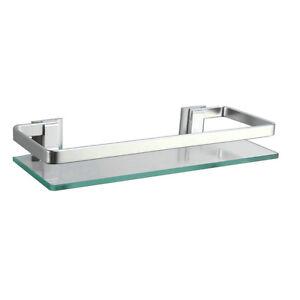 Bathroom Extra Thick Tempered Glass Shower Shelves Rectangular Shelf Wall Mount