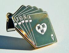 Collier Pendentif Acier Poker Or 3 Zirconia + Chaine