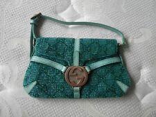 NWT Auth Gucci Turquoise Beaded Lizard Trim Mini Flap SM Evening Purse Bag RARE!