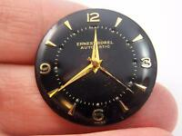 Watch Dial 27.5mm Black Ernest Borel Mens Vintage Gold Numerl & Arrow Markrs NOS