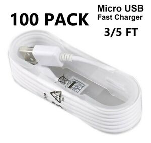 Lot 100X 5ft Wholesale Micro USB Charger Fast Charging Cable Cord For Android LG