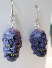 Walking Dead-like Zombie Planet Dr. RIGAMORTIS RICK Dangle Earrings Horror Heads