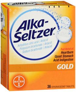 Alka Seltzer Gold 36 Effervescent Tablet Fast relief of heartburn, upset stomach