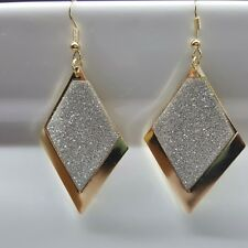 Trendy Rose Gold Silver Frosted Dangle Earrings Rhombus Lozenge Shape Jewellery