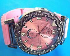 Techno KING   X Large   Wrist Watch Pink Rubber Band Stainless Steel  52mm 6024G