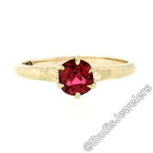 Antique Victorian 14k Gold GIA Old Cushion Burma Spinel Petite Solitaire Ring