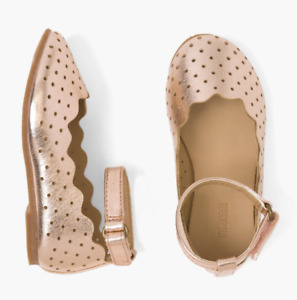 Gymboree Baby Toddler Girls Perforated Metallic Ankle Strap Flats