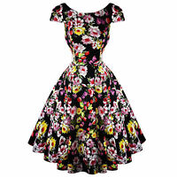 Hearts & Roses London Black Floral Vintage 50s Prom Swing Flared Dress UK