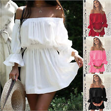Womens Holiday Off Shoulder Bardot Mini Dress Summer Beach Frill Ruffle Sundress