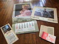 4 vintage calendars from 1948 and 1964 , booklet with hand writing 1911 calendar