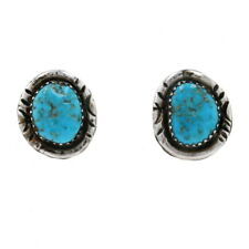 Native American Turquoise Stud Earrings - Sterling Silver 925 Etched Pierced