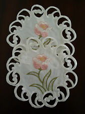 """2pcs 8"""" Doily  Embroidered Placemat TableTopper Pink Tulip Floral Cutwork Design"""