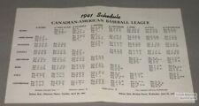 Orig. 1941 Canadian-American Baseball League Schedule