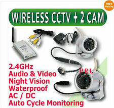 4 CH Wireless Audio Video Outdoor Day Night Security Camera Home CCTV System