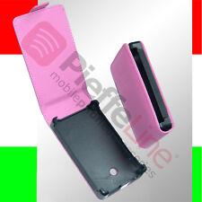custodia eco PELLE rosa per LG ELECTRONICS E400 OPTIMUS L3 flip case