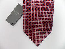 Daniel Cremieux Signature 7 Seven Fold Silk Necktie Red Blue White Grid $120 NWT