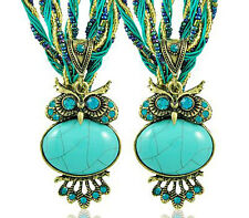 Vintage Jewellery Antique Bronze & Turquoise Owl Shape Pendant Necklace N183