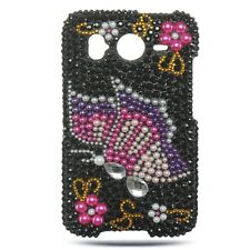 For HTC Inspire 4G Diamond Crystal Bling Hard Case Phone Cover Black Butterfly
