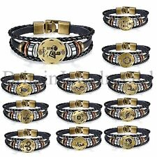 Men's Womens Vintage Constellation 12 Zodiac Beaded Leather Bracelet Bangle Cuff