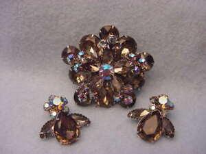 Vintage Rhinestone Pin & Earring Set