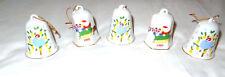 Lot of 5 Lillian Vernon Christmas Bells 1988 Vintage Set Ornament Dove Santa Lvc