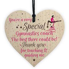 Gymnastics Gymnast Teacher Great Coach Wooden Heart Thank You Leaving Present