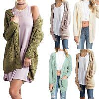 Oversized Women Long Sleeve Knitted Sweater Jumper Cardigan Outwear Coat Jacket