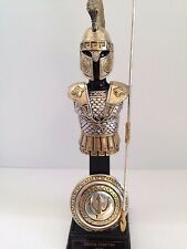 "FRANKLIN MINT GILT WASH ""WARRIOR'S IN ARMOUR ""GREEK SPARTAN"" 480 BC   8.5"" TALL"