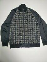 Anchor Blue Houndstooth Velvet flocked Black Gray Track Jacket Mens Size Large