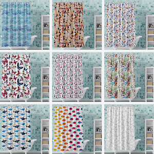 Shower Curtain PVC-Free PEVA Vinyl Printed 72x72, Fun Modern Colorful Styles