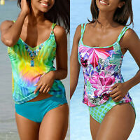 Womens Floral Strappy Tankini Set Swimsuit Swimwear Padded Bikini Bathing Suit