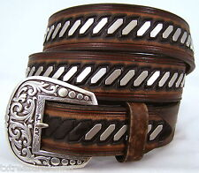 ARIAT belts men's casual western accessories BROWN LEATHER CONCHO BELT 38 NWT!