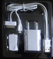 CARGADOR 4 EN 1 COCHE CASA +CABLE DATOS USB PARA IPHONE 3/4  IPOD IPAD MICRO USB