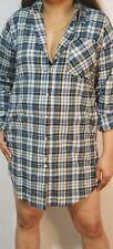 Ladies Tunic Shirt Dress Grey Plunged Tartan Check Micro Mini Party ClubWear