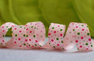 "7/8""(U PICK) Two color Polka Dots Grosgrain Ribbon 4 hair Bow 5/10/20/50 Yds"