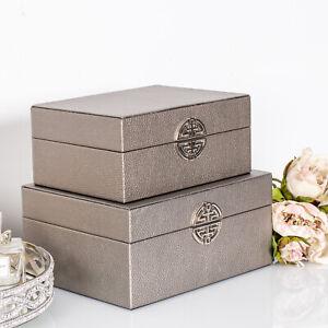 Set of 2 Pewter Grey Storage Boxes Faux Leather Jewellery Decorative Trinket