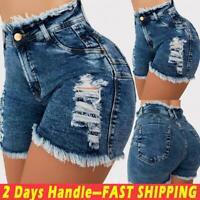 Womens High Waist Denim Shorts Stretch Skinny Ripped Jeans Summer Slim Hot Pants