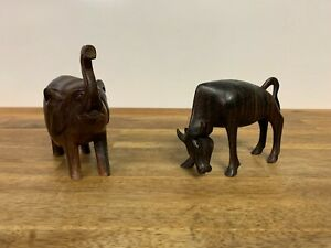 Elephant and Ox Wooden Figure Lot