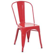 Chaise de bistro en métal HWC-A73, désign industriel métallique ~ rouge
